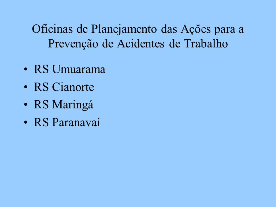 Oficinas de Planejamento das Ações para a Prevenção de Acidentes de Trabalho Regionais que não aconteceram as Oficinas: (8) 36,3% RS Paranaguá RS Curitiba e Região Metropolitana RS Apucarana RS Londrina RS Cornélio Procópio RS Jacarezinho RS Ivaiporã RSCampo Mourão