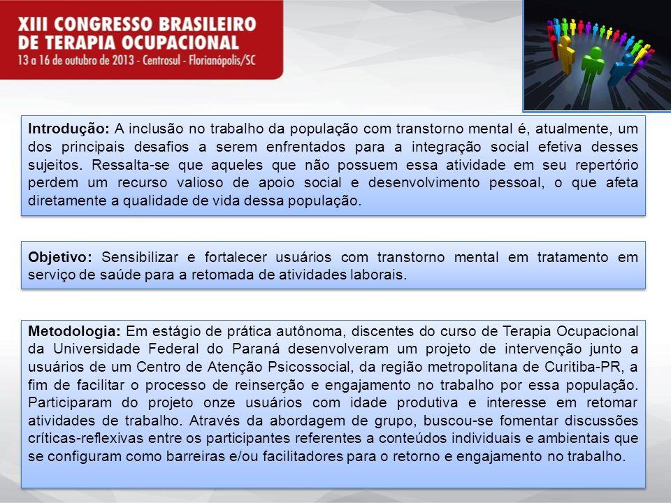Introdução: A inclusão no trabalho da população com transtorno mental é, atualmente, um dos principais desafios a serem enfrentados para a integração