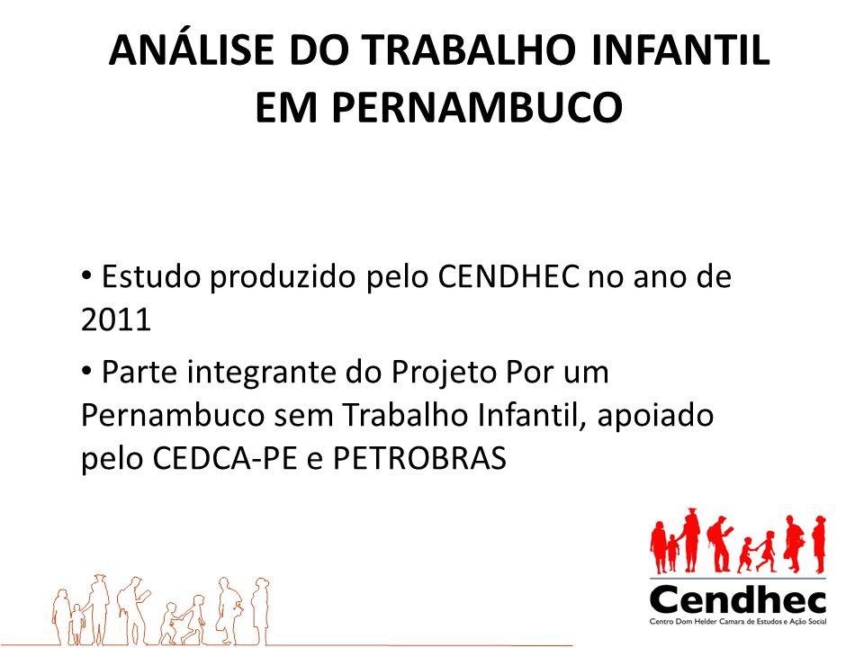 Estudo produzido pelo CENDHEC no ano de 2011 Parte integrante do Projeto Por um Pernambuco sem Trabalho Infantil, apoiado pelo CEDCA-PE e PETROBRAS