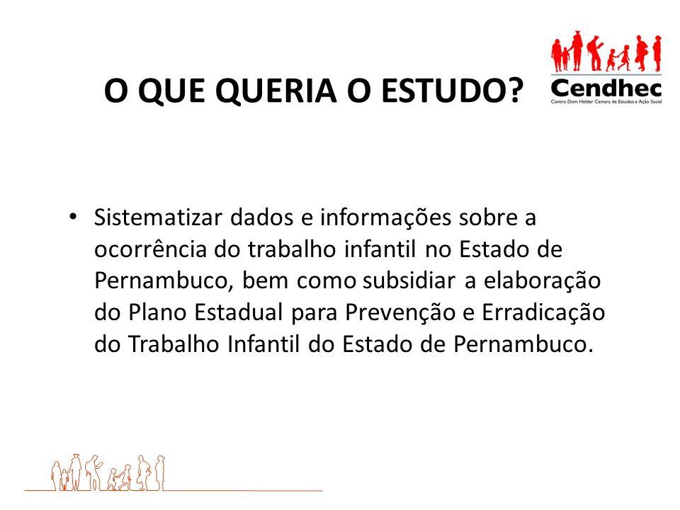 O QUE QUERIA O ESTUDO? Sistematizar dados e informações sobre a ocorrência do trabalho infantil no Estado de Pernambuco, bem como subsidiar a elaboraç