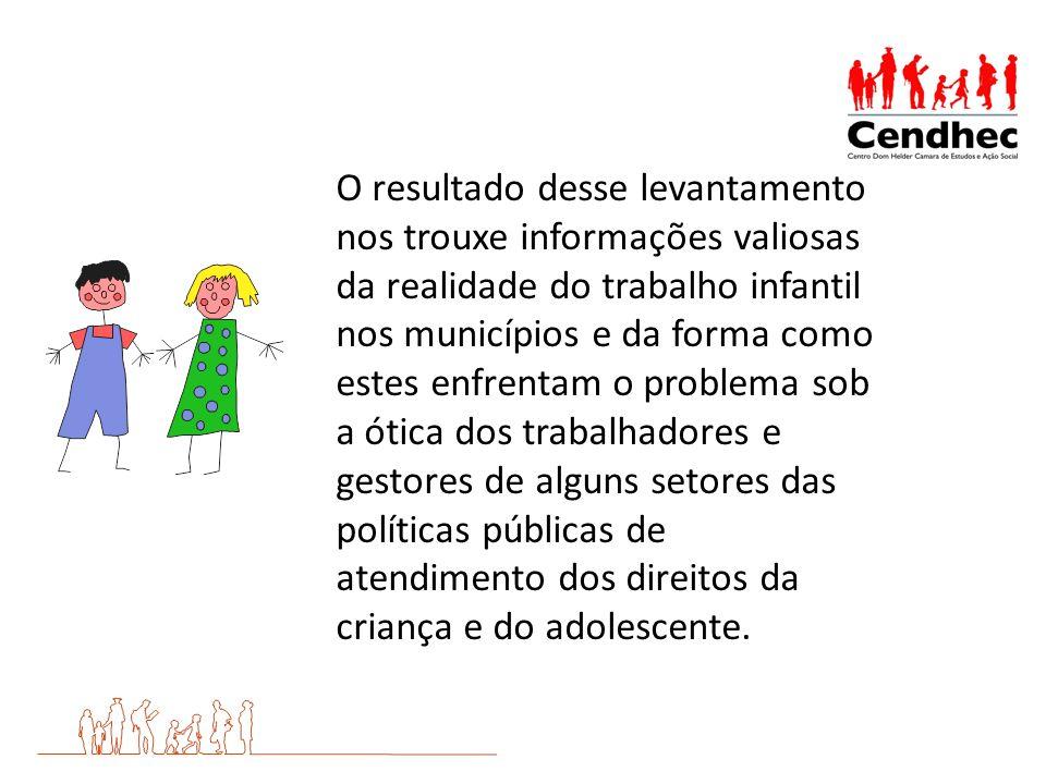 O resultado desse levantamento nos trouxe informações valiosas da realidade do trabalho infantil nos municípios e da forma como estes enfrentam o prob
