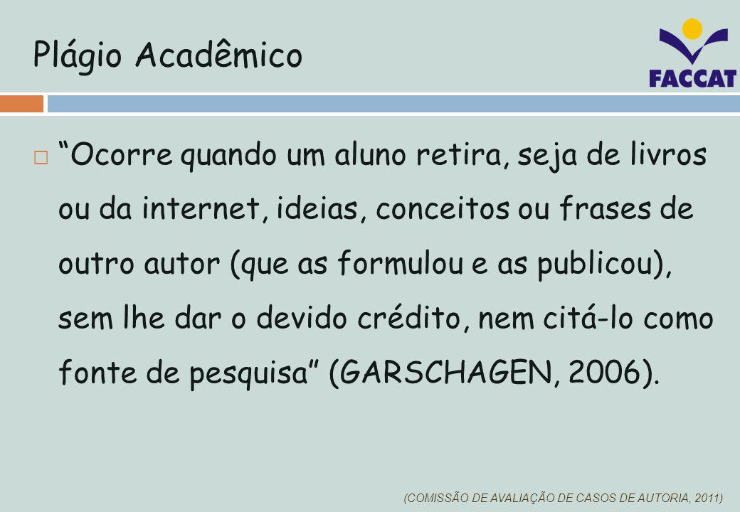 3 tipos de plágio (Garschagen, 2006) Integral Ocorre quando o aluno copia um trabalho sem mencionar o autor original.