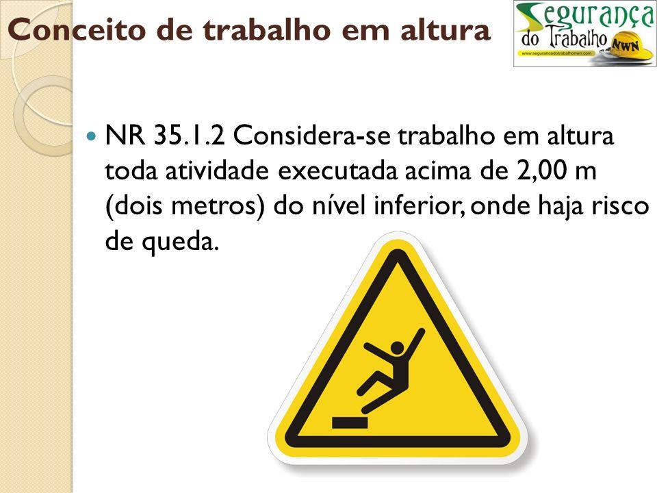 Conceito de trabalho em altura NR 35.1.2 Considera-se trabalho em altura toda atividade executada acima de 2,00 m (dois metros) do nível inferior, onde haja risco de queda.