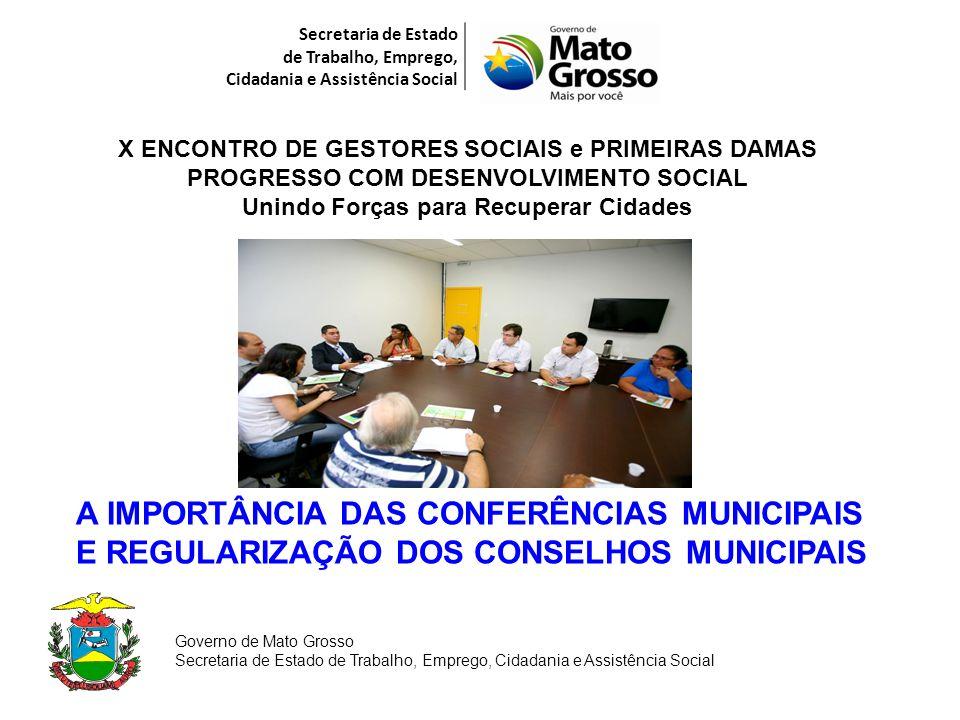 Secretaria de Estado de Trabalho, Emprego, Cidadania e Assistência Social X ENCONTRO DE GESTORES SOCIAIS e PRIMEIRAS DAMAS PROGRESSO COM DESENVOLVIMEN