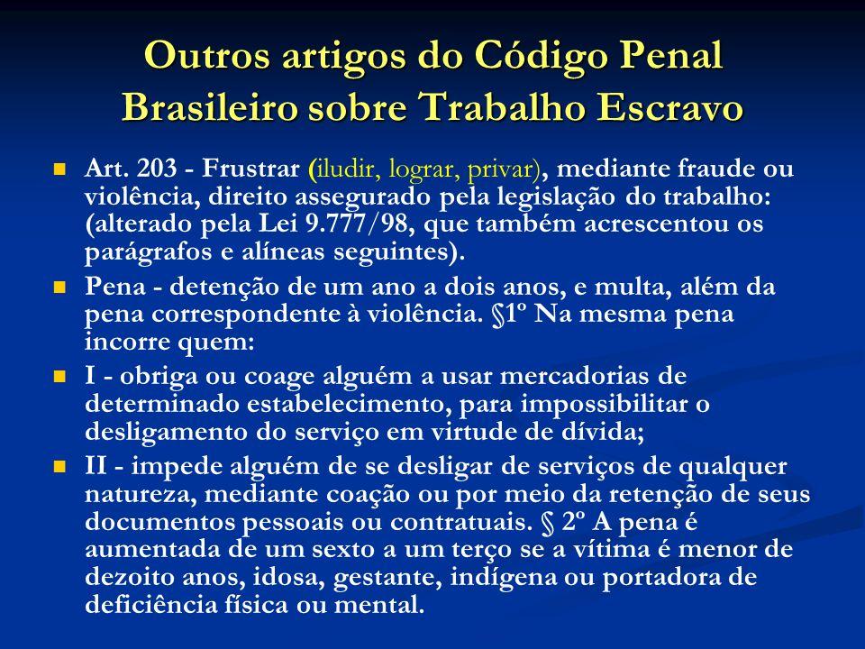 Outros artigos do Código Penal Brasileiro sobre Trabalho Escravo Art.