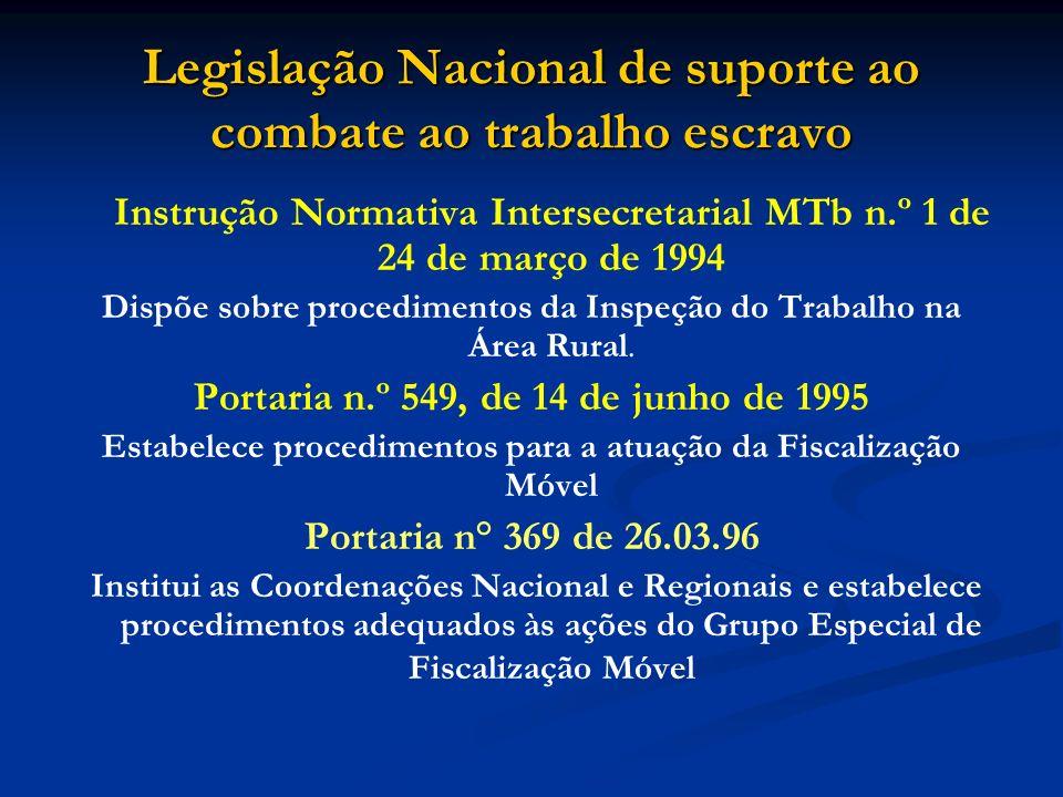 Legislação Nacional de suporte ao combate ao trabalho escravo Instrução Normativa Intersecretarial MTb n.º 1 de 24 de março de 1994 Dispõe sobre procedimentos da Inspeção do Trabalho na Área Rural.