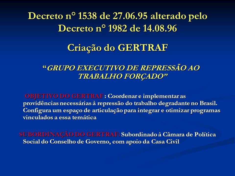 Decreto n° 1538 de 27.06.95 alterado pelo Decreto n° 1982 de 14.08.96 Criação do GERTRAF GRUPO EXECUTIVO DE REPRESSÃO AO TRABALHO FORÇADOGRUPO EXECUTIVO DE REPRESSÃO AO TRABALHO FORÇADO OBJETIVO DO GERTRAF : Coordenar e implementar as providências necessárias à repressão do trabalho degradante no Brasil.