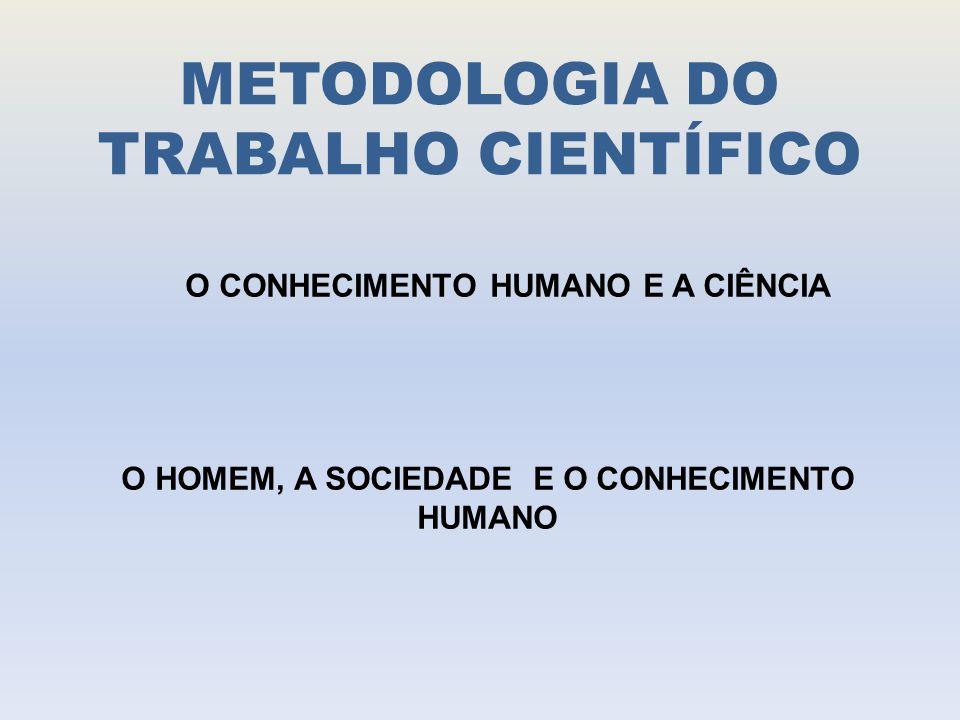 METODOLOGIA DO TRABALHO CIENTÍFICO O CONHECIMENTO HUMANO E A CIÊNCIA O HOMEM, A SOCIEDADE E O CONHECIMENTO HUMANO