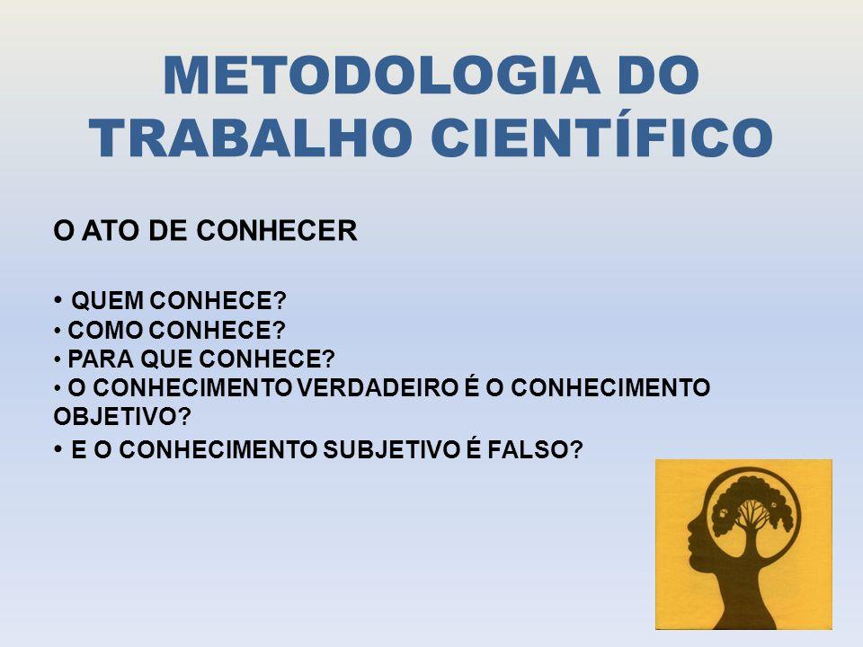 METODOLOGIA DO TRABALHO CIENTÍFICO O ATO DE CONHECER QUEM CONHECE.