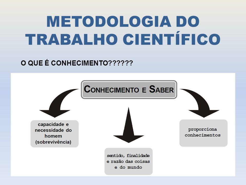METODOLOGIA DO TRABALHO CIENTÍFICO PERGUNTAS PARA REFLETIR: - O CONHECIMENTO SE ORIGINA DA ONDE.
