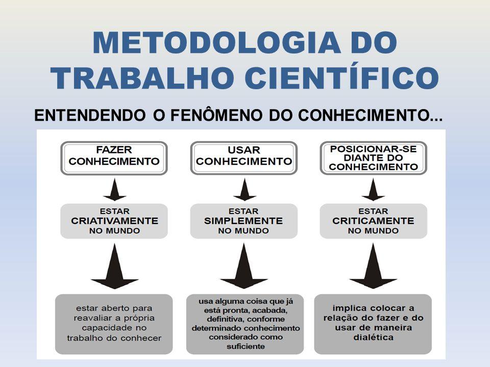 METODOLOGIA DO TRABALHO CIENTÍFICO TIPOS DE CONHECIMENTO: - CONHECIMENTO POPULAR - CONHECIMENTO CIENTÍFICO - CONHECIMENTO FILOSÓFICO - CONHECIMENTO RELIGIOSO