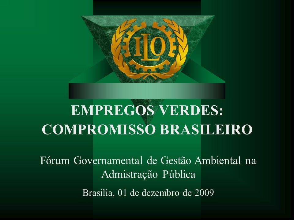 Roteiro da apresentação Compromissos assumidos pelo governo brasileiro com a geração de empregos verdes Os conceitos de trabalho decente e empregos verdes Empregos verdes e novos padrões de produção e consumo