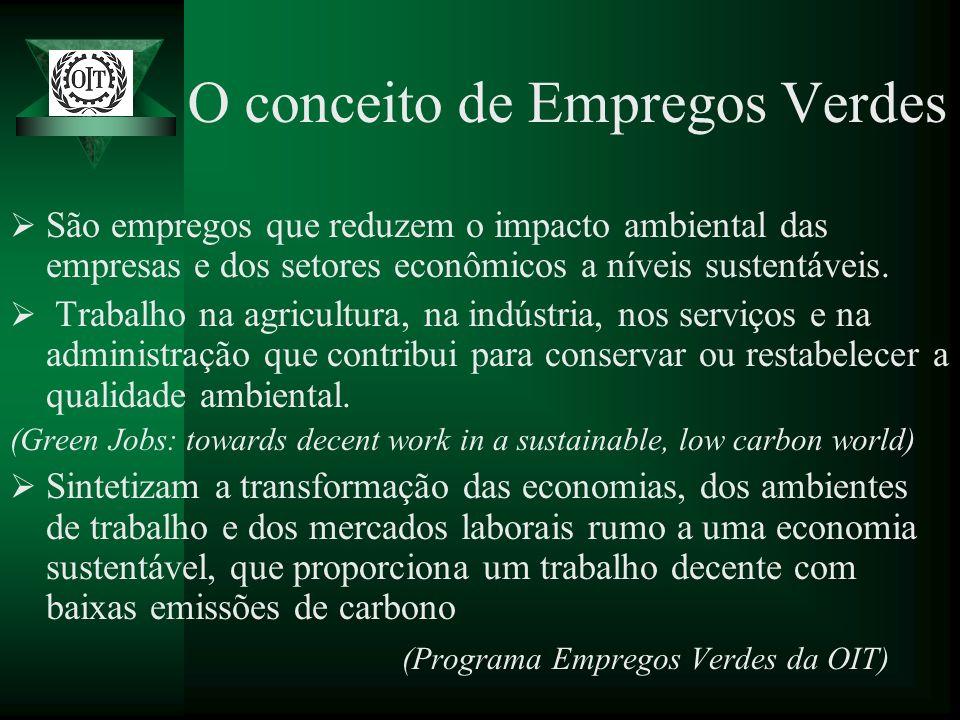 O conceito de Empregos Verdes São empregos que reduzem o impacto ambiental das empresas e dos setores econômicos a níveis sustentáveis. Trabalho na ag