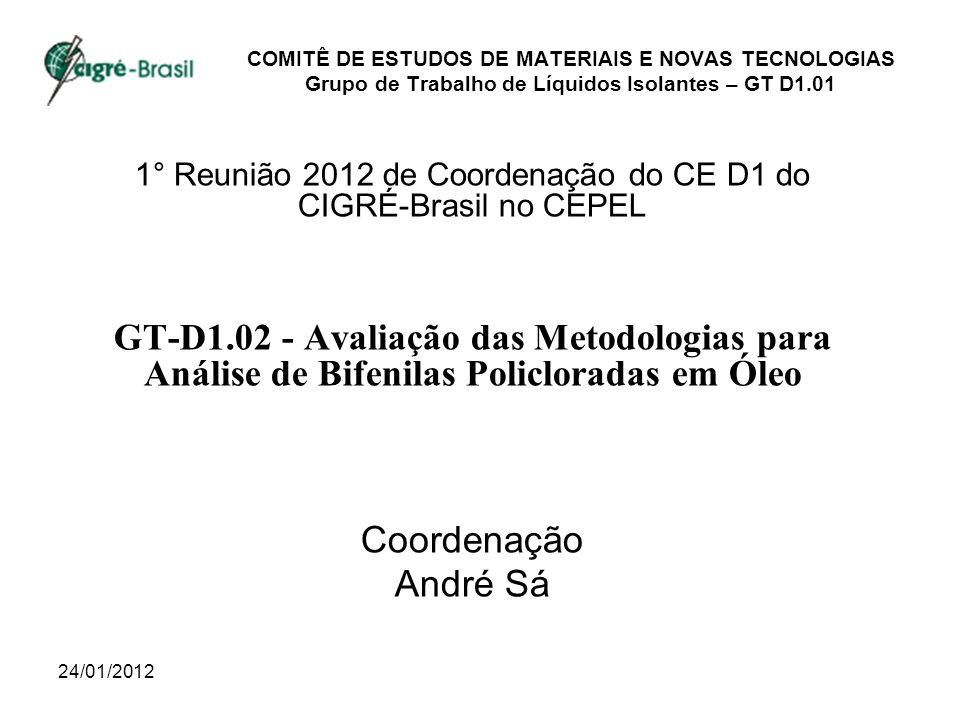 24/01/2012 COMITÊ DE ESTUDOS DE MATERIAIS E NOVAS TECNOLOGIAS Grupo de Trabalho de Líquidos Isolantes – GT D1.01 1° Reunião 2012 de Coordenação do CE D1 do CIGRÉ-Brasil no CEPEL GT-D1.02 - Avaliação das Metodologias para Análise de Bifenilas Policloradas em Óleo Coordenação André Sá