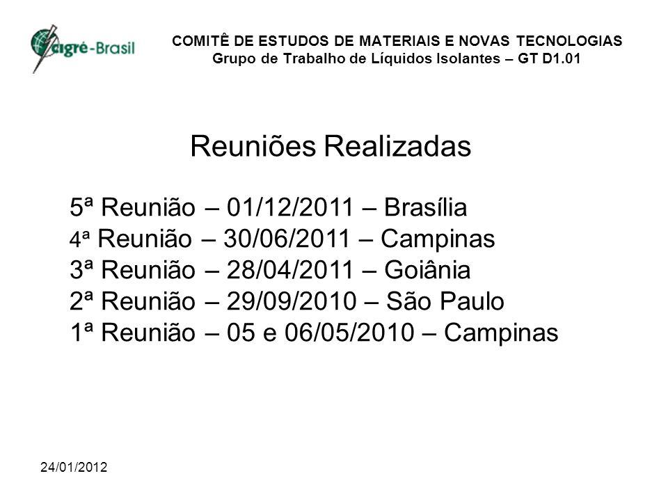 24/01/2012 COMITÊ DE ESTUDOS DE MATERIAIS E NOVAS TECNOLOGIAS Grupo de Trabalho de Líquidos Isolantes – GT D1.01 Reuniões Realizadas 5ª Reunião – 01/12/2011 – Brasília 4ª Reunião – 30/06/2011 – Campinas 3ª Reunião – 28/04/2011 – Goiânia 2ª Reunião – 29/09/2010 – São Paulo 1ª Reunião – 05 e 06/05/2010 – Campinas