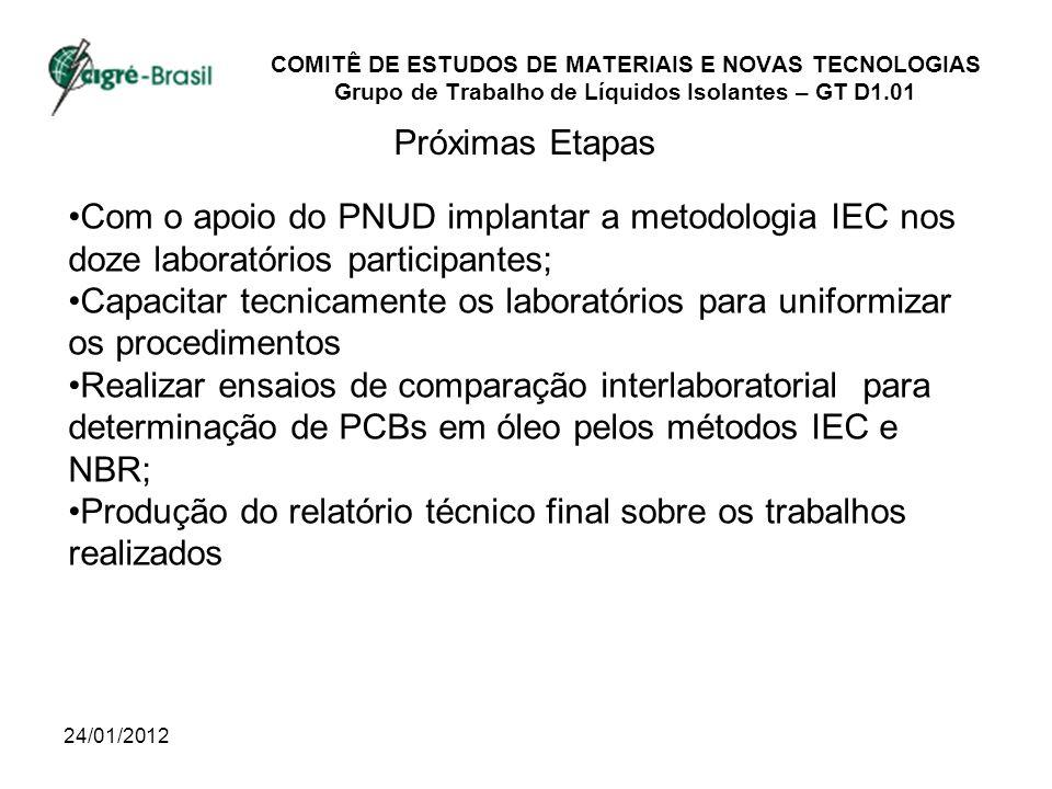 24/01/2012 COMITÊ DE ESTUDOS DE MATERIAIS E NOVAS TECNOLOGIAS Grupo de Trabalho de Líquidos Isolantes – GT D1.01 Próximas Etapas Com o apoio do PNUD i