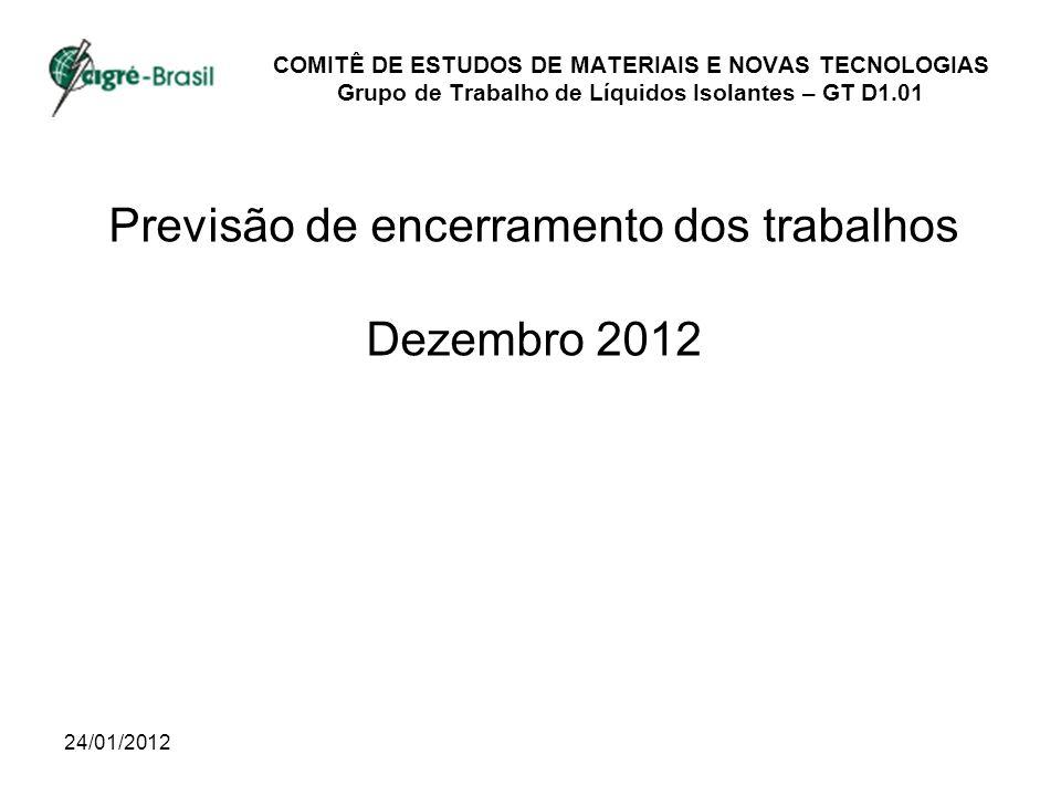24/01/2012 COMITÊ DE ESTUDOS DE MATERIAIS E NOVAS TECNOLOGIAS Grupo de Trabalho de Líquidos Isolantes – GT D1.01 Previsão de encerramento dos trabalhos Dezembro 2012