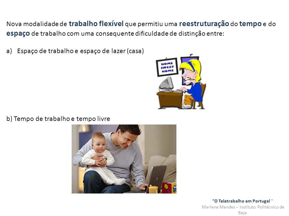 O Teletrabalho em Portugal Marlene Mendes – Instituto Politécnico de Beja Nova modalidade de trabalho flexível que permitiu uma reestruturação do temp