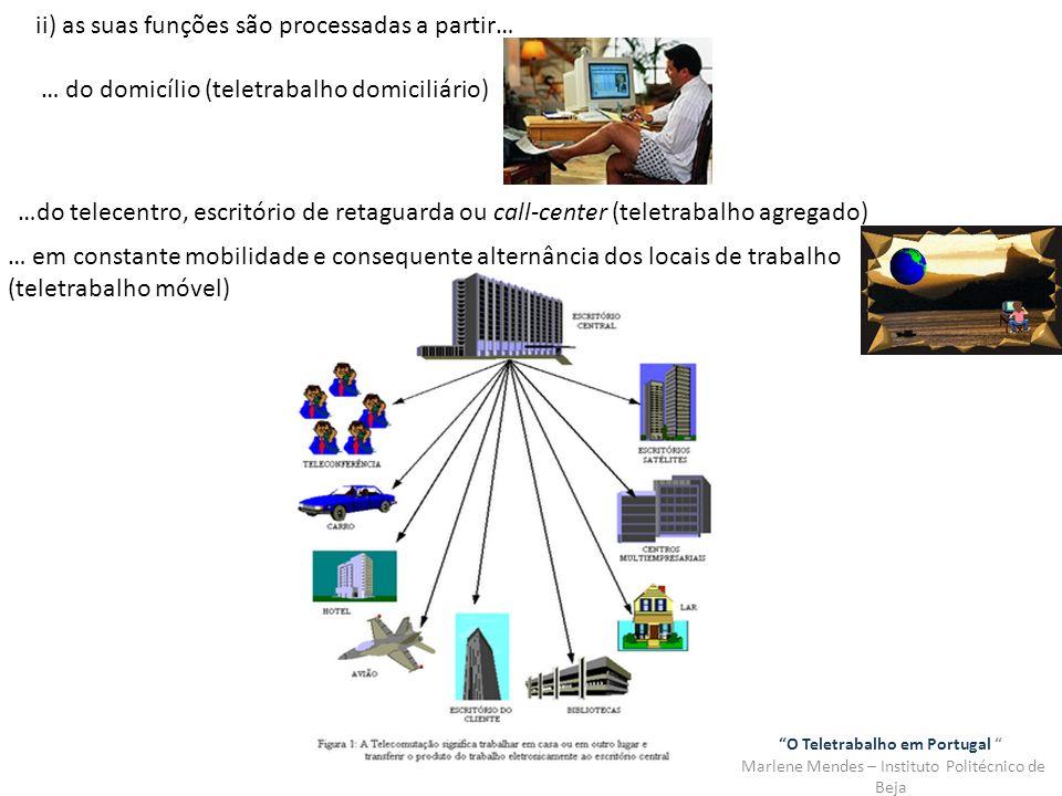 O Teletrabalho em Portugal Marlene Mendes – Instituto Politécnico de Beja ii) as suas funções são processadas a partir… … do domicílio (teletrabalho d