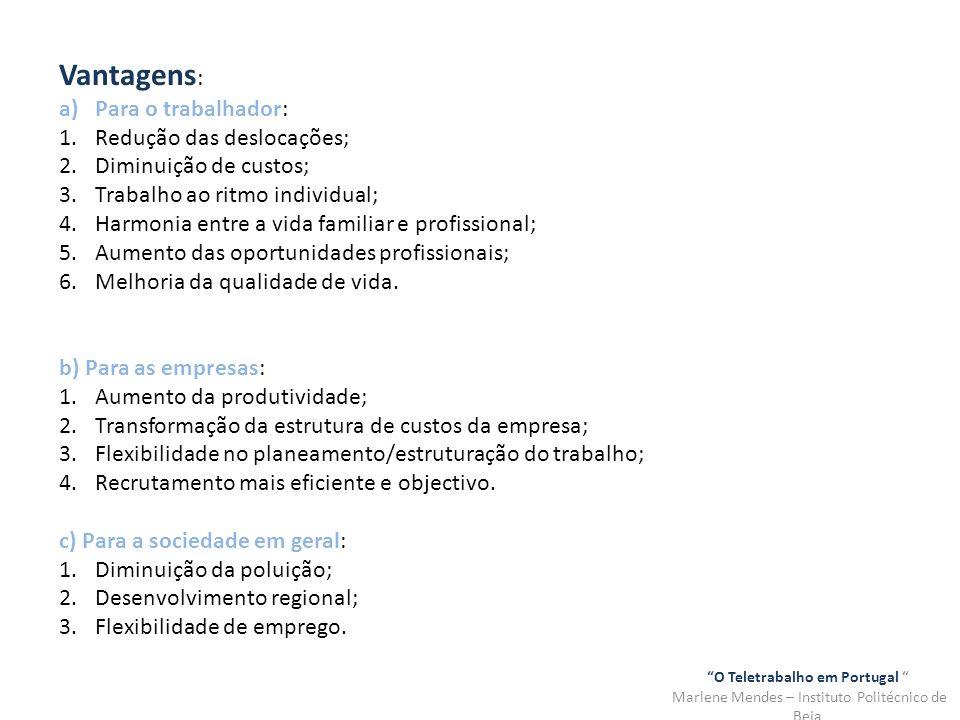 O Teletrabalho em Portugal Marlene Mendes – Instituto Politécnico de Beja Desvantagens : a)Para os trabalhadores: 1.Isolamento social e profissional; 2.Redução das oportunidades profissionais; 3.Problemas familiares; 4.Falta de legislação; 5.O vício do trabalho.