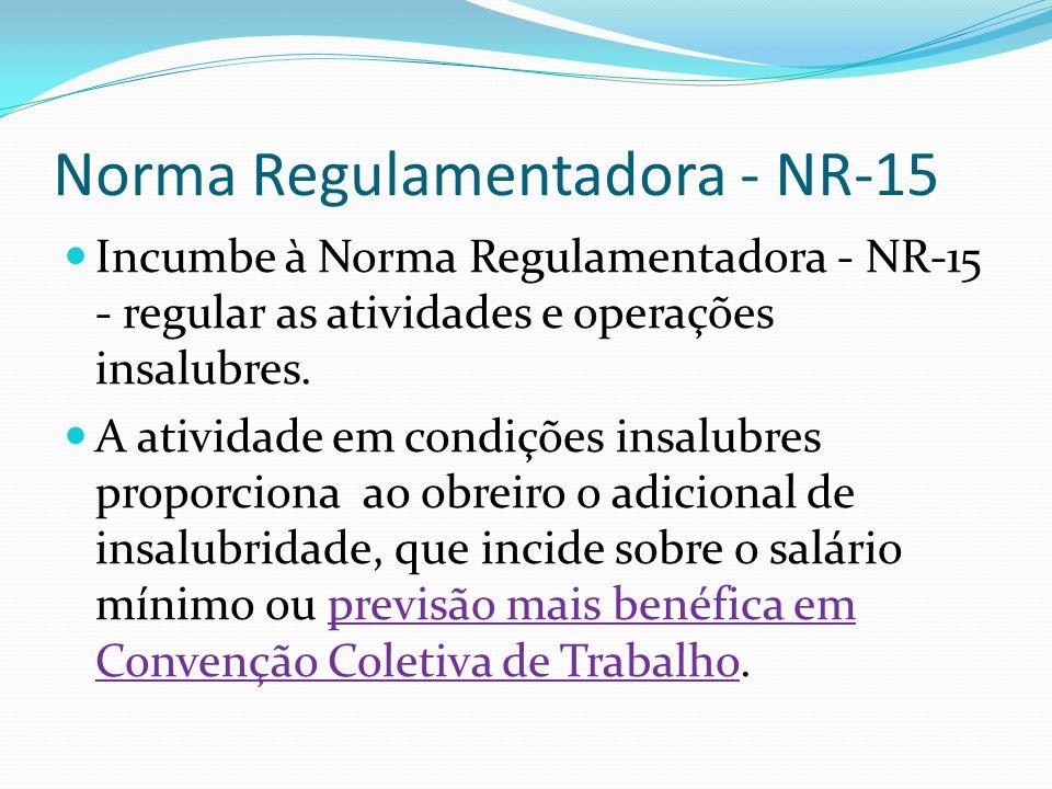 Norma Regulamentadora - NR-15 Incumbe à Norma Regulamentadora - NR-15 - regular as atividades e operações insalubres. A atividade em condições insalub