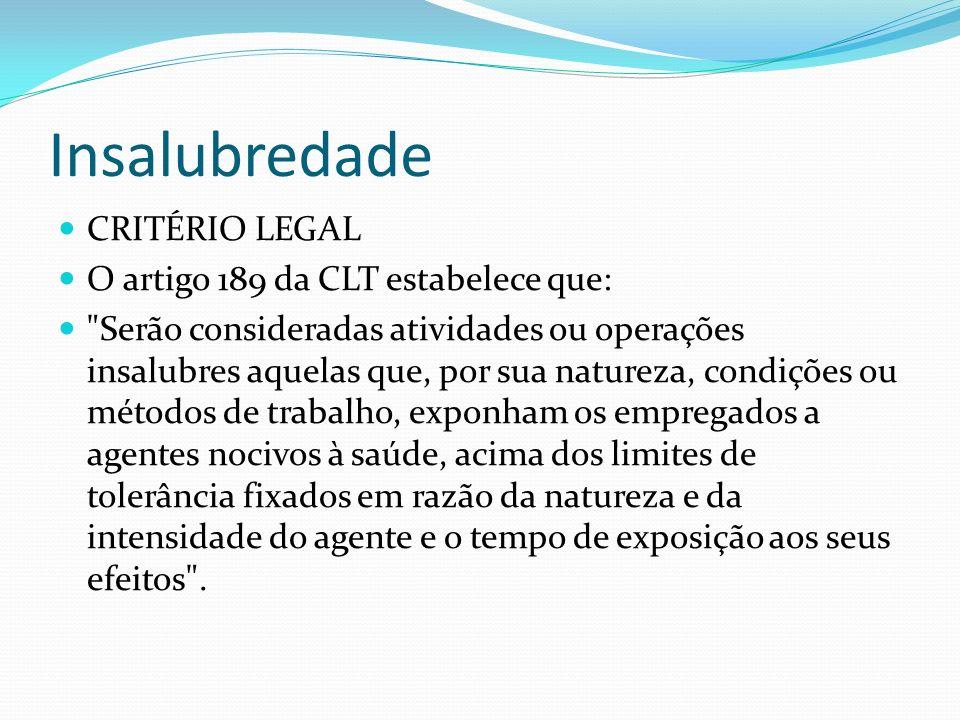Insalubredade CRITÉRIO LEGAL O artigo 189 da CLT estabelece que:
