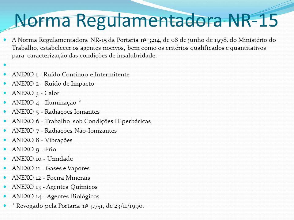 Norma Regulamentadora NR-15 A Norma Regulamentadora NR-15 da Portaria nº 3214, de 08 de junho de 1978. do Ministério do Trabalho, estabelecer os agent