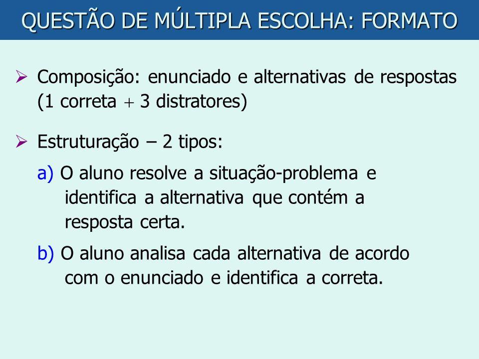 QUESTÃO DE MÚLTIPLA ESCOLHA: FORMATO Composição: enunciado e alternativas de respostas (1 correta 3 distratores) Estruturação – 2 tipos: a) O aluno re