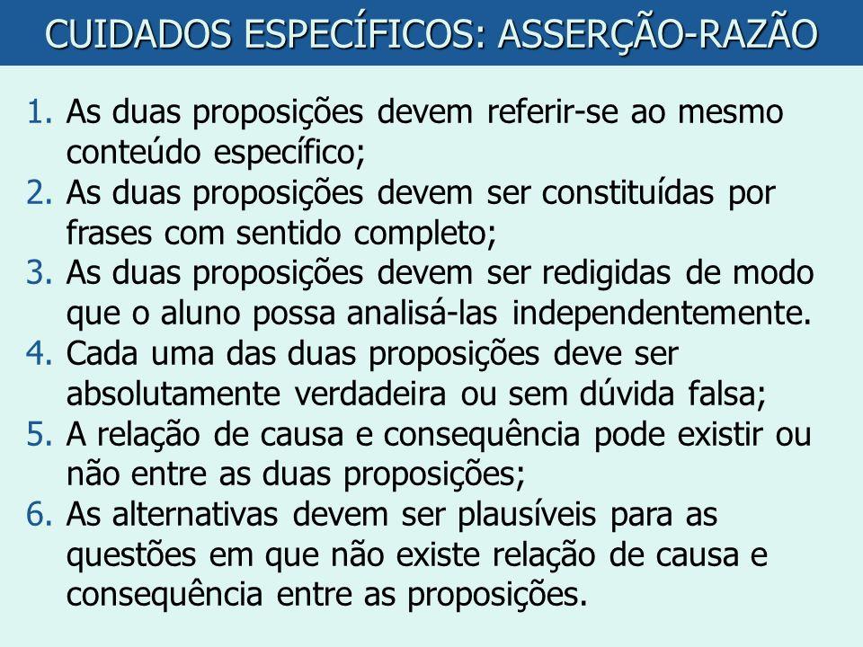 CUIDADOS ESPECÍFICOS: ASSERÇÃO-RAZÃO 1.As duas proposições devem referir-se ao mesmo conteúdo específico; 2.As duas proposições devem ser constituídas