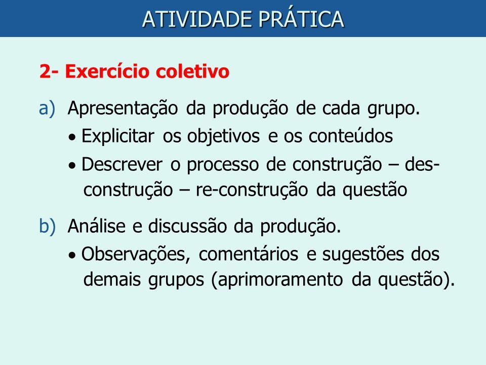 ATIVIDADE PRÁTICA 2- Exercício coletivo a)Apresentação da produção de cada grupo. Explicitar os objetivos e os conteúdos Descrever o processo de const