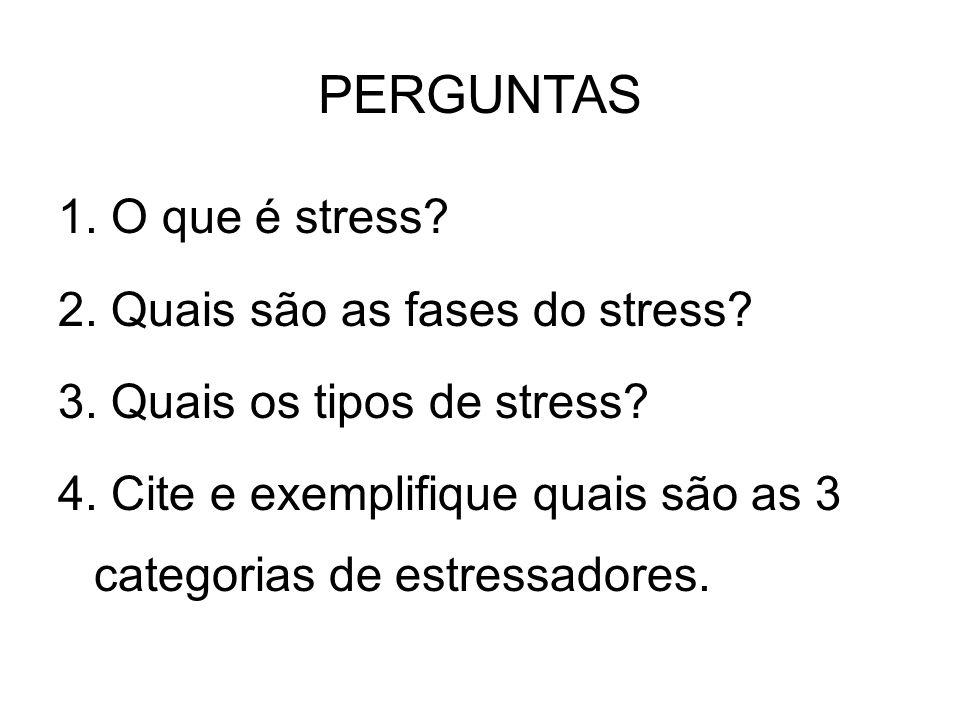 PERGUNTAS 1. O que é stress? 2. Quais são as fases do stress? 3. Quais os tipos de stress? 4. Cite e exemplifique quais são as 3 categorias de estress