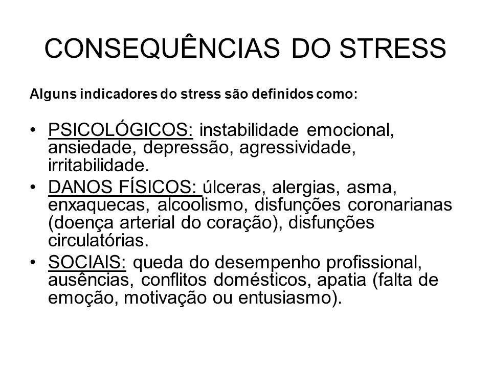 CONSEQUÊNCIAS DO STRESS Alguns indicadores do stress são definidos como: PSICOLÓGICOS: instabilidade emocional, ansiedade, depressão, agressividade, i