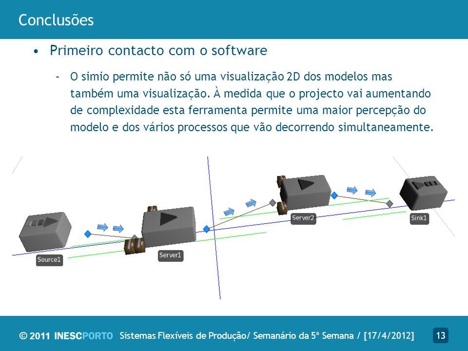 © 2011 Conclusões Primeiro contacto com o software –O simio permite não só uma visualização 2D dos modelos mas também uma visualização.