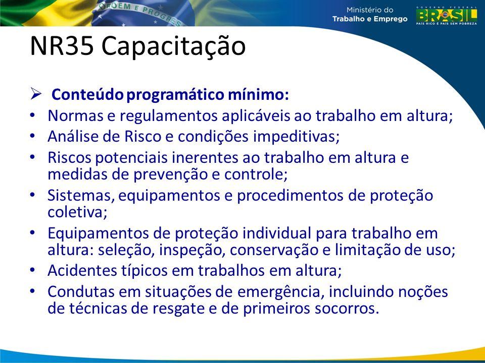 NR35 Capacitação Conteúdo programático mínimo: Normas e regulamentos aplicáveis ao trabalho em altura; Análise de Risco e condições impeditivas; Riscos potenciais inerentes ao trabalho em altura e medidas de prevenção e controle; Sistemas, equipamentos e procedimentos de proteção coletiva; Equipamentos de proteção individual para trabalho em altura: seleção, inspeção, conservação e limitação de uso; Acidentes típicos em trabalhos em altura; Condutas em situações de emergência, incluindo noções de técnicas de resgate e de primeiros socorros.