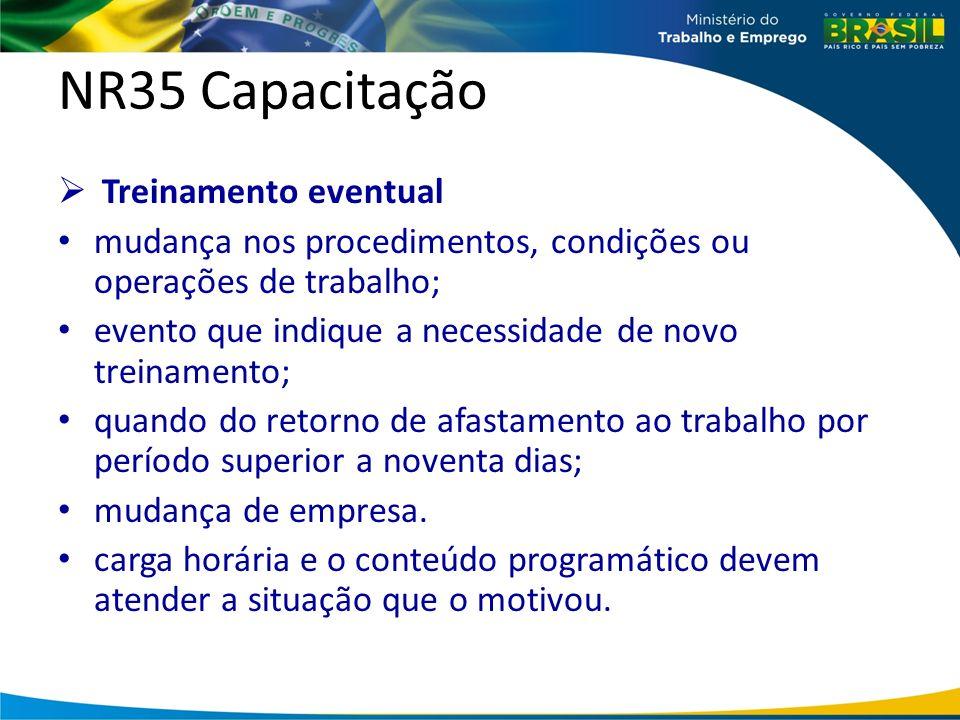 NR35 Capacitação Treinamento eventual mudança nos procedimentos, condições ou operações de trabalho; evento que indique a necessidade de novo treinamento; quando do retorno de afastamento ao trabalho por período superior a noventa dias; mudança de empresa.