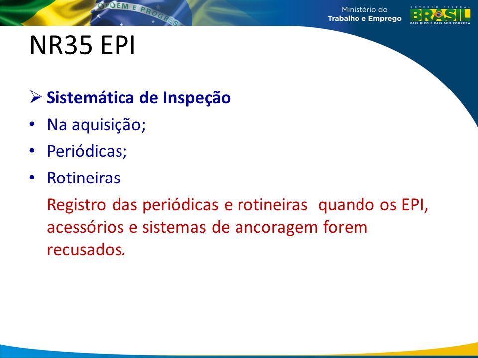NR35 EPI Sistemática de Inspeção Na aquisição; Periódicas; Rotineiras Registro das periódicas e rotineiras quando os EPI, acessórios e sistemas de ancoragem forem recusados.