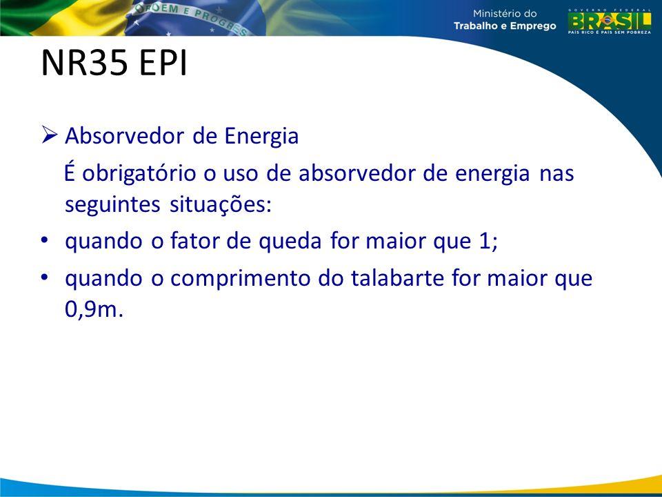 NR35 EPI Absorvedor de Energia É obrigatório o uso de absorvedor de energia nas seguintes situações: quando o fator de queda for maior que 1; quando o comprimento do talabarte for maior que 0,9m.