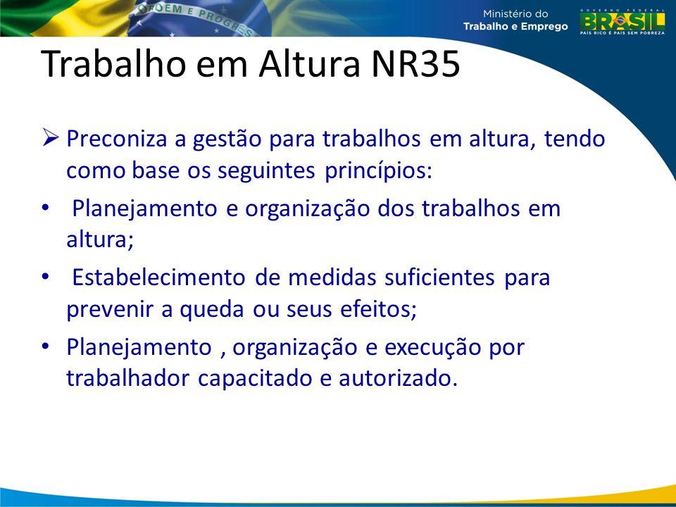 Trabalho em Altura NR35 Preconiza a gestão para trabalhos em altura, tendo como base os seguintes princípios: Planejamento e organização dos trabalhos em altura; Estabelecimento de medidas suficientes para prevenir a queda ou seus efeitos; Planejamento, organização e execução por trabalhador capacitado e autorizado.