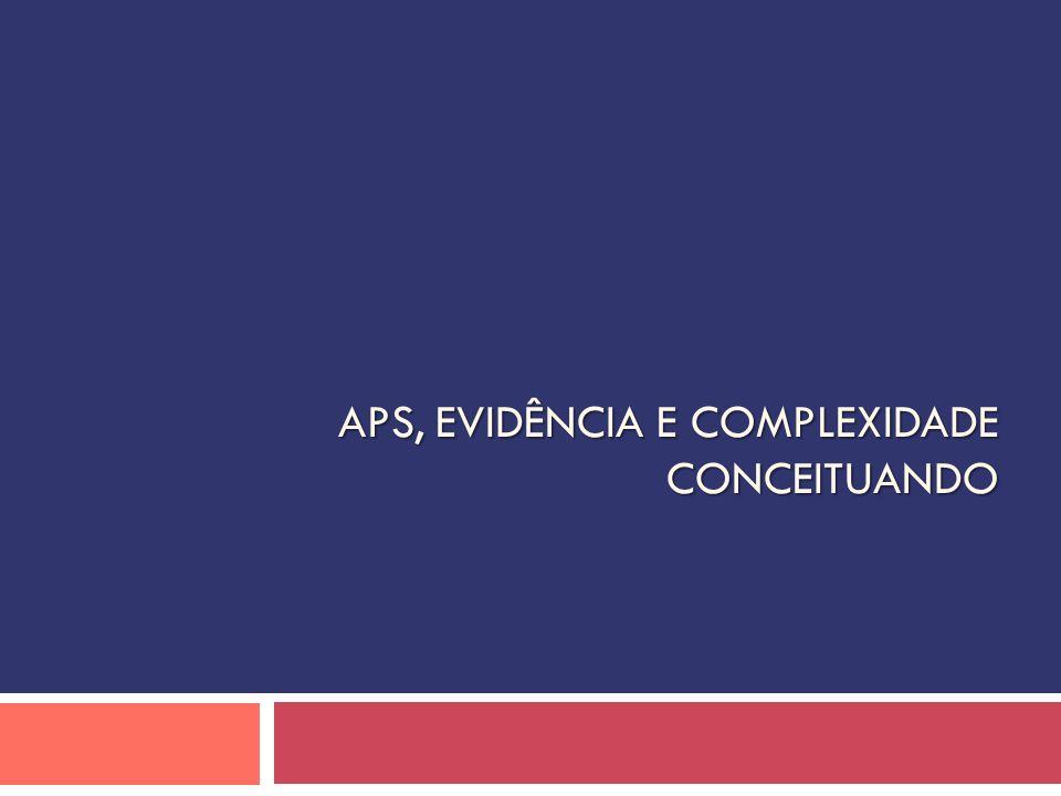 APS, EVIDÊNCIA E COMPLEXIDADE CONCEITUANDO