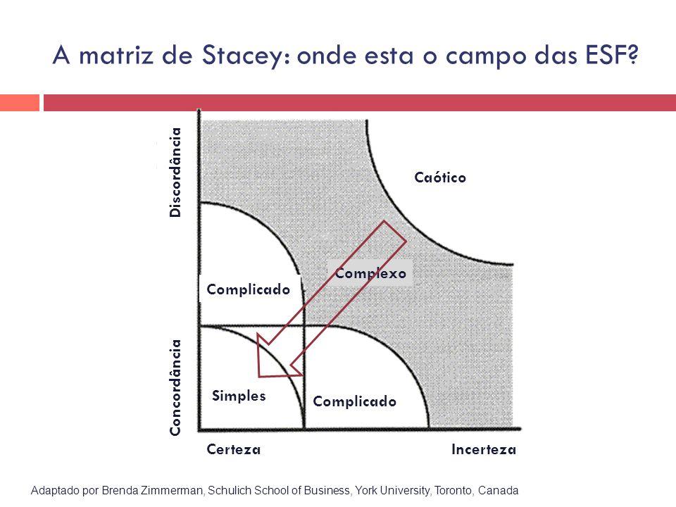 Adaptado por Brenda Zimmerman, Schulich School of Business, York University, Toronto, Canada Caótico CertezaIncerteza Simples Complicado Complexo Comp