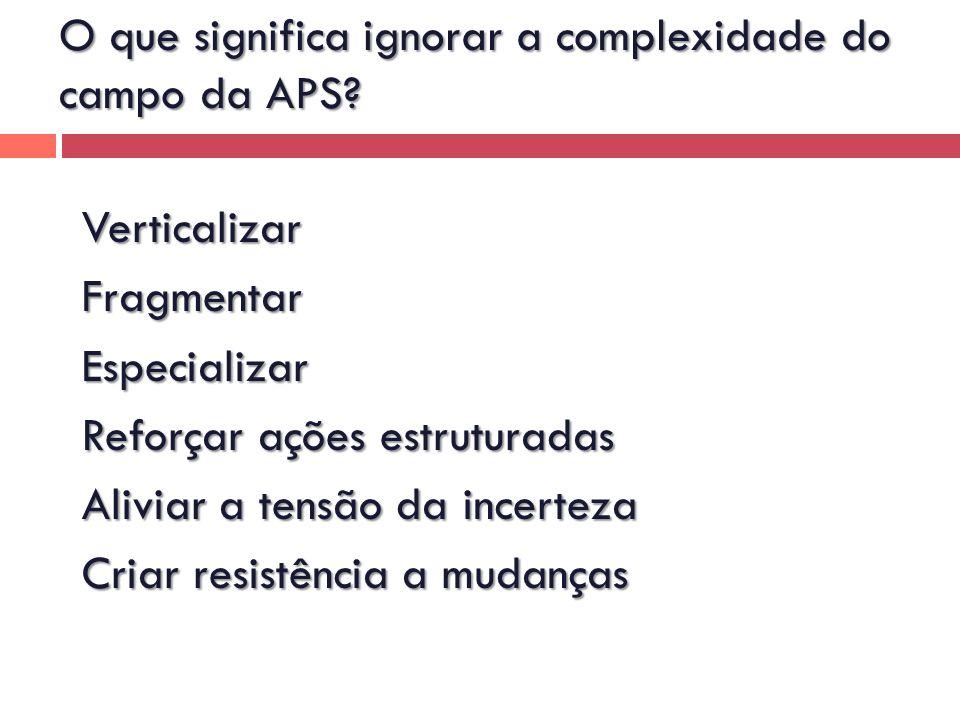 VerticalizarFragmentarEspecializar Reforçar ações estruturadas Aliviar a tensão da incerteza Criar resistência a mudanças O que significa ignorar a co