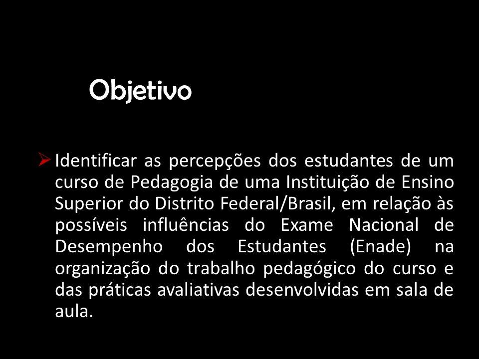Objetivo Identificar as percepções dos estudantes de um curso de Pedagogia de uma Instituição de Ensino Superior do Distrito Federal/Brasil, em relaçã