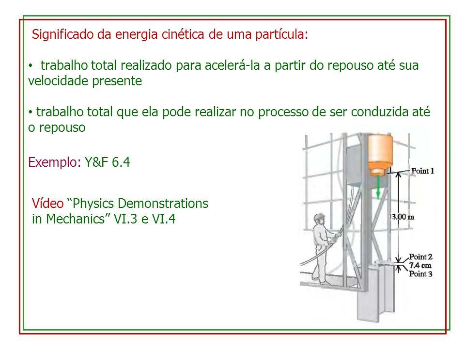 Significado da energia cinética de uma partícula: trabalho total realizado para acelerá-la a partir do repouso até sua velocidade presente trabalho total que ela pode realizar no processo de ser conduzida até o repouso Exemplo: Y&F 6.4 Vídeo Physics Demonstrations in Mechanics VI.3 e VI.4