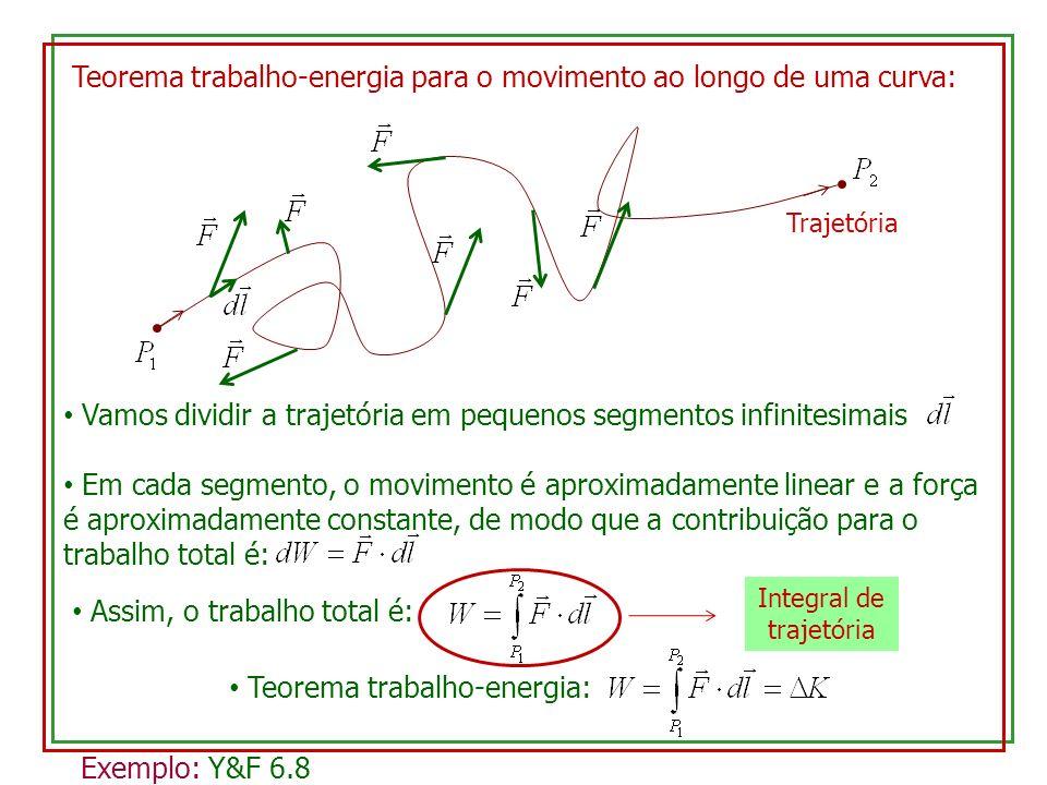 Teorema trabalho-energia para o movimento ao longo de uma curva: Trajetória Vamos dividir a trajetória em pequenos segmentos infinitesimais Em cada segmento, o movimento é aproximadamente linear e a força é aproximadamente constante, de modo que a contribuição para o trabalho total é: Assim, o trabalho total é: Integral de trajetória Teorema trabalho-energia: Exemplo: Y&F 6.8