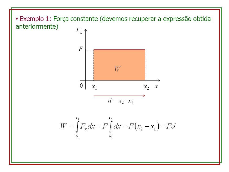 Exemplo 1: Força constante (devemos recuperar a expressão obtida anteriormente) x FxFx 0 x1x1 x2x2 F d = x 2 - x 1