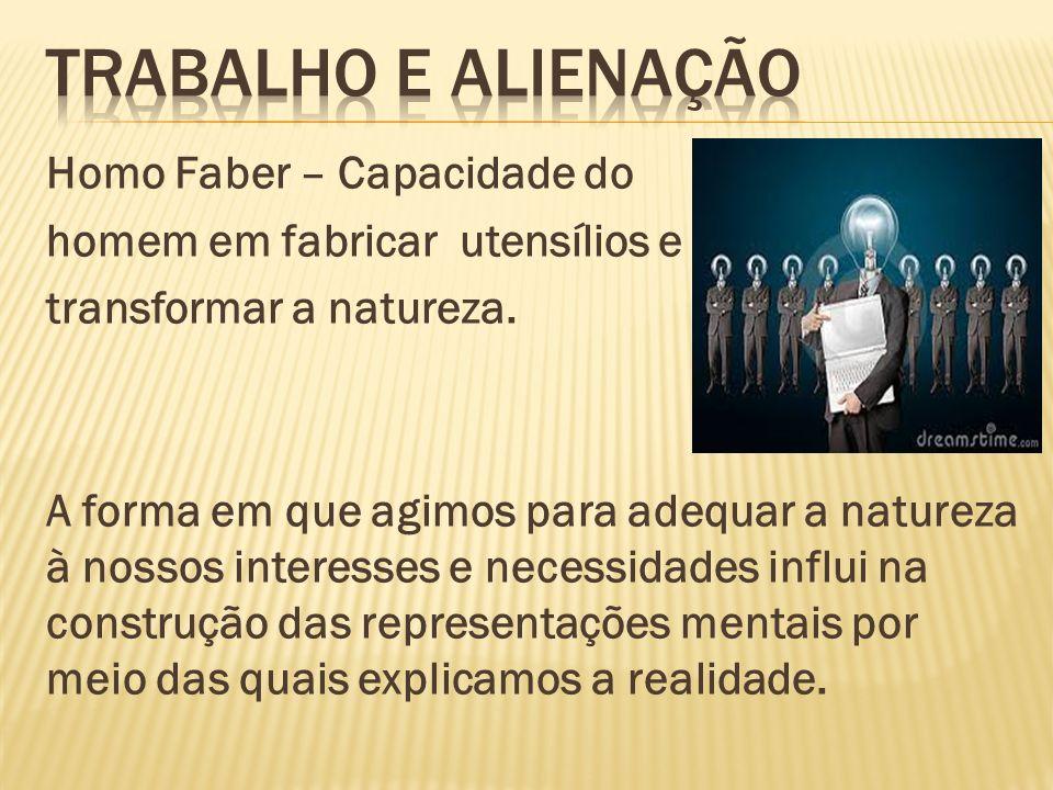 Homo Faber – Capacidade do homem em fabricar utensílios e transformar a natureza.