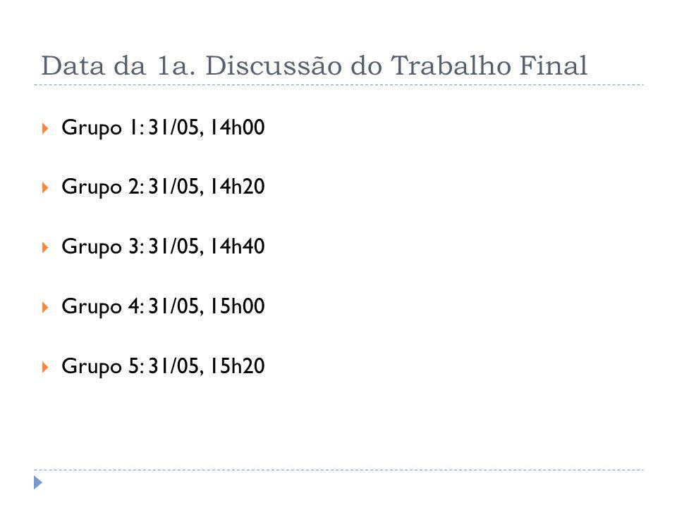 Data da 1a. Discussão do Trabalho Final Grupo 1: 31/05, 14h00 Grupo 2: 31/05, 14h20 Grupo 3: 31/05, 14h40 Grupo 4: 31/05, 15h00 Grupo 5: 31/05, 15h20