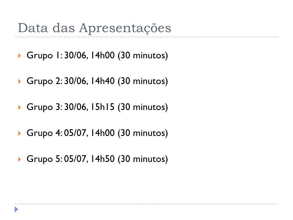 Data das Apresentações Grupo 1: 30/06, 14h00 (30 minutos) Grupo 2: 30/06, 14h40 (30 minutos) Grupo 3: 30/06, 15h15 (30 minutos) Grupo 4: 05/07, 14h00