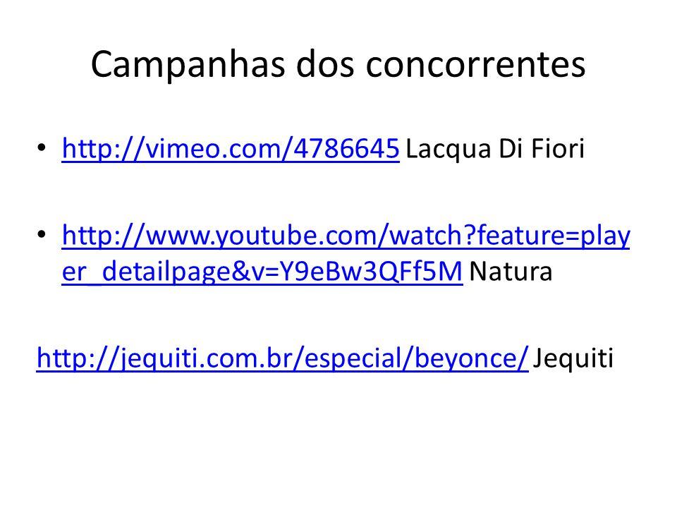 Campanhas dos concorrentes http://vimeo.com/4786645 Lacqua Di Fiori http://vimeo.com/4786645 http://www.youtube.com/watch?feature=play er_detailpage&v