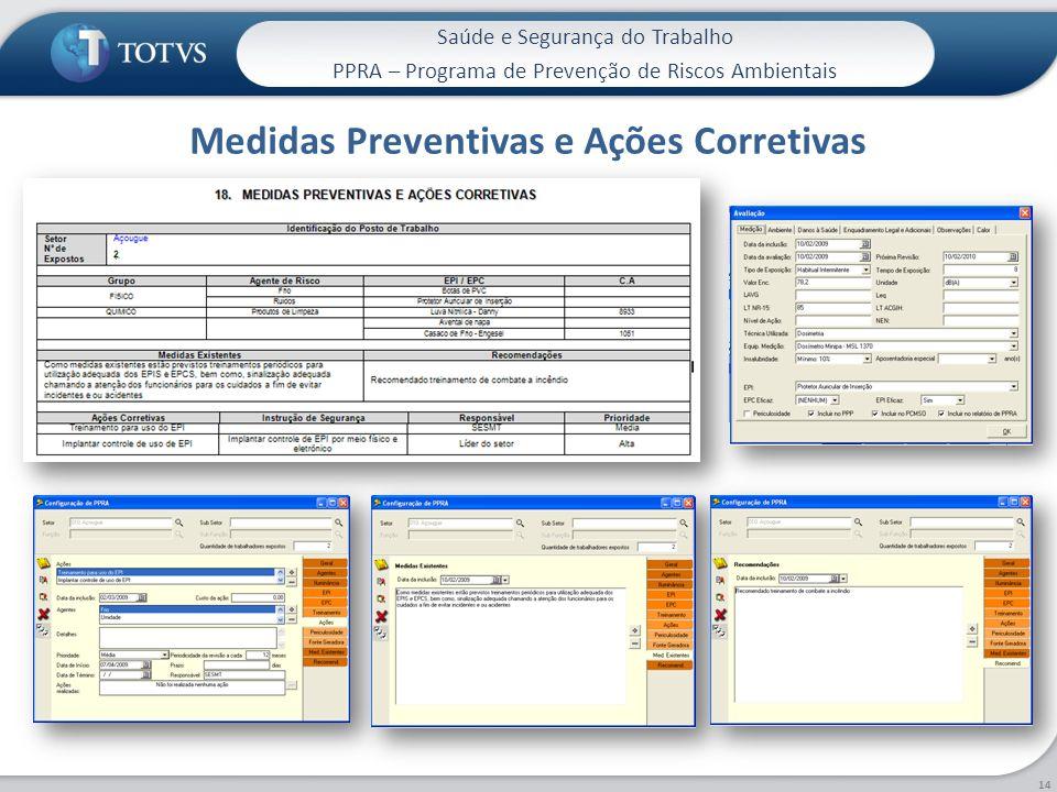 Saúde e Segurança do Trabalho PPRA – Programa de Prevenção de Riscos Ambientais Medidas Preventivas e Ações Corretivas 14